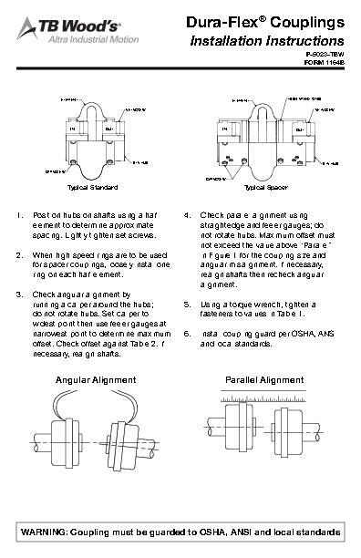Dura-Flex® Coupling Installation Instructions FORM 1164B