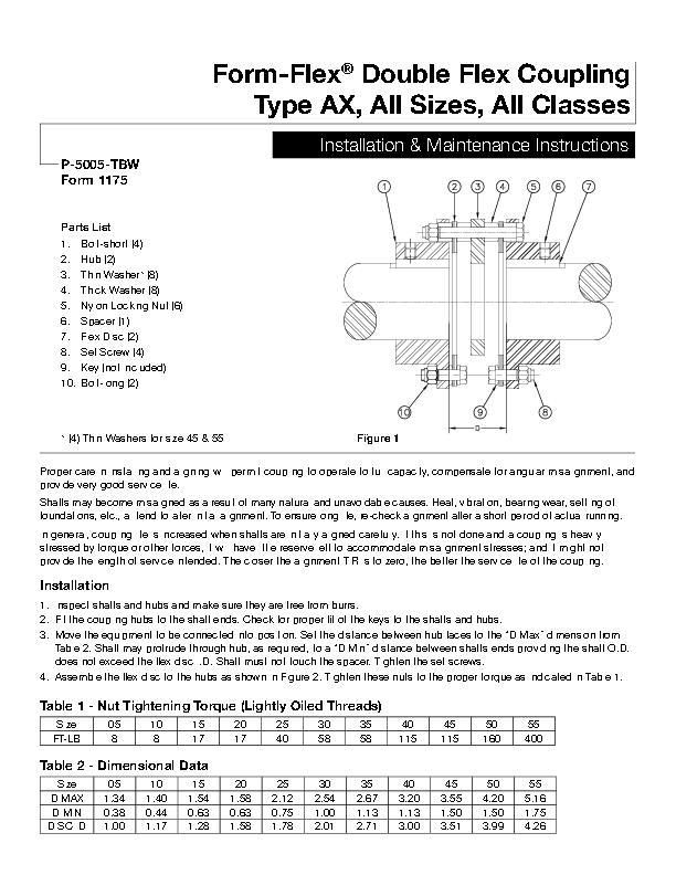 Form-Flex Double Flex Coupling Type Ax, All Sizes, All Classes