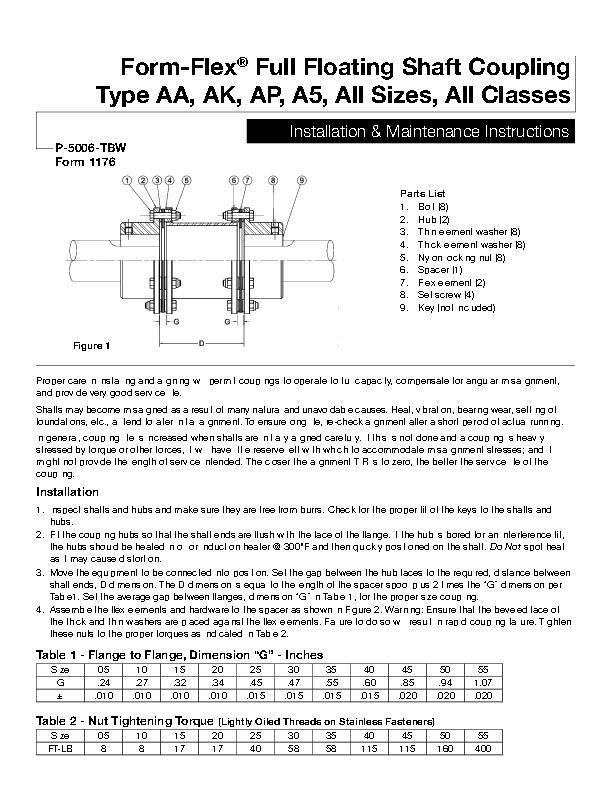 Form-Flex Full Floating Shaft Coupling Type AA, AK, AP, A5 All Sizes, All Classes