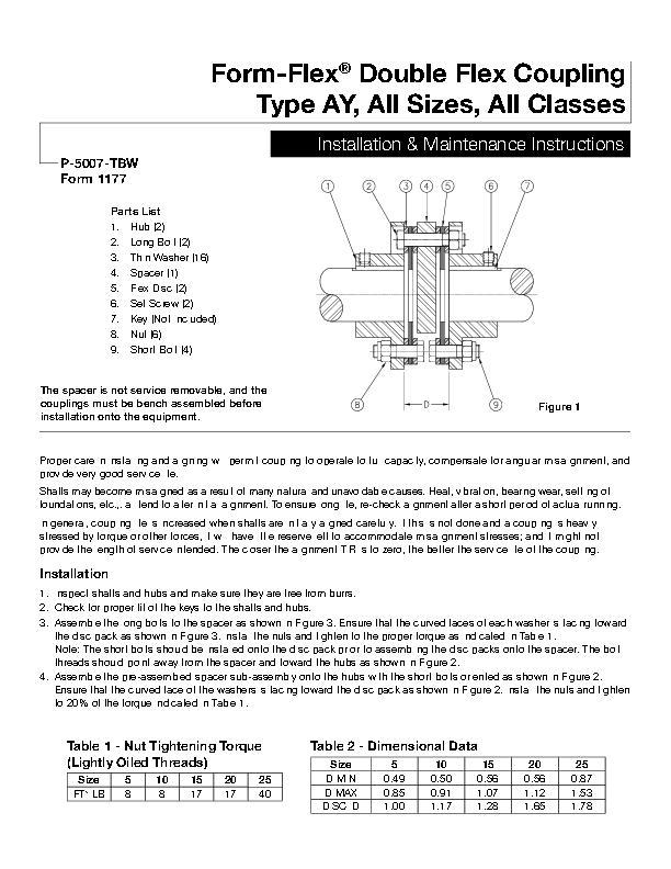 Form-Flex Double Flex Coupling Type AY Installation & Maintenance Instructions