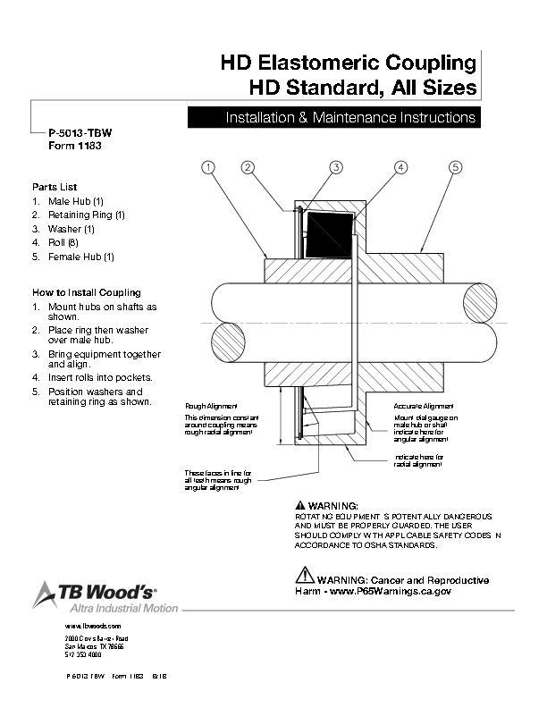 HD Elastomeric Coupling HD Standard Install & Maintenance
