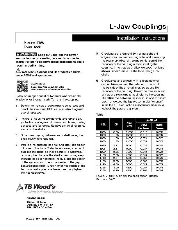 Jaw Couplings Installation Instructions