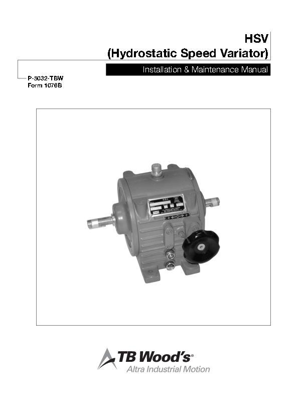 HSV Hydrostatic Speed Variator Service Manual
